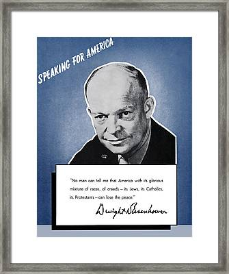 General Eisenhower Speaking For America Framed Print by War Is Hell Store