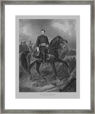 General George Mcclellan On Horseback Framed Print by War Is Hell Store