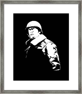 General George Patton - Black And White Framed Print by War Is Hell Store