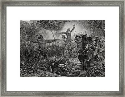 General Goffe Repulsing The Indians At Framed Print by Vintage Design Pics
