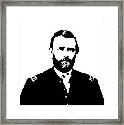 General Grant Black And White  Framed Print by War Is Hell Store