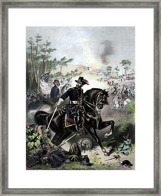 General Grant During Battle Framed Print by War Is Hell Store