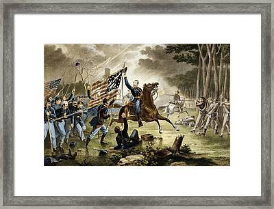 General Kearney's Gallant Charge At The Battle Of Chantilly Framed Print by Augustus Tholey