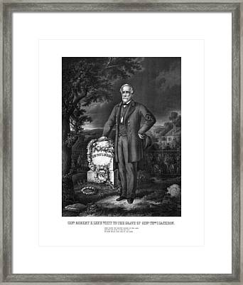 General Lee Visits The Grave Of Stonewall Jackson Framed Print by War Is Hell Store