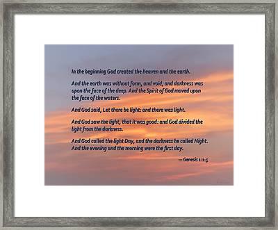 Genesis 1 1-5 In The Beginning Framed Print by Susan Savad
