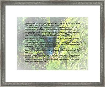 Genesis 1 24-31  Let The Earth Bring Forth The Living Creature Framed Print by Susan Savad
