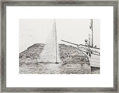 Geneva  Fountain And Bow Of Pleasure Boat Framed Print by Vincent Alexander Booth