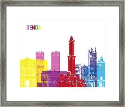Genoa Skyline Pop Framed Print by Pablo Romero