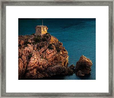 Genoese Tower, Porto, Corsica Framed Print by John Fyn