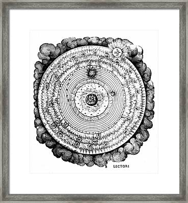 Geocentric Universe Showing The Earth Surrounded By The Spheres Of Water, Air And Fire, And Stars Framed Print by Robert Fludd