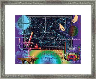 Geography And Voyaging Homage To Joseph Cornell Framed Print by Eric Edelman