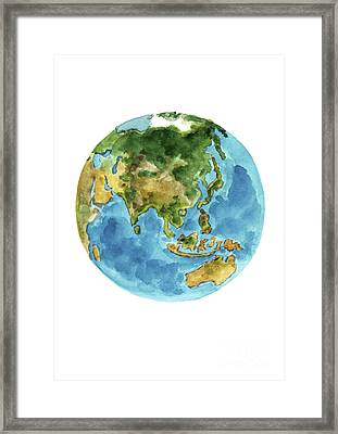 Planet Earth Colors, Geography World Map Australia, New Zealand, Japan, Abstract Watercolor Painting Framed Print by Joanna Szmerdt