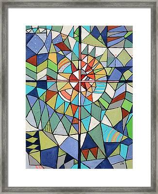 Geometric Cross Framed Print by Jen Norton