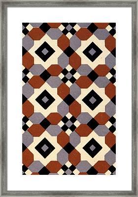 Geometric Textile Design Framed Print by English School