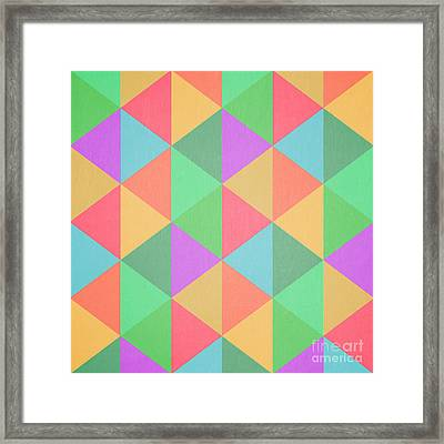 Geometric Triangles Abstract Square Framed Print by Edward Fielding