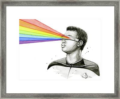 Geordi Sees The Rainbow Framed Print by Olga Shvartsur