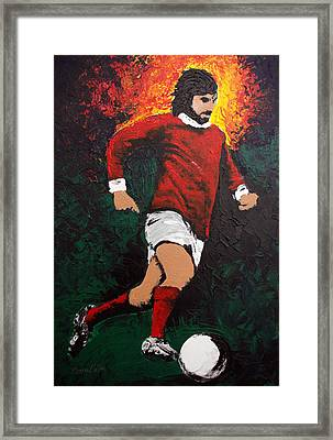 George Best Framed Print by Barry Mullan