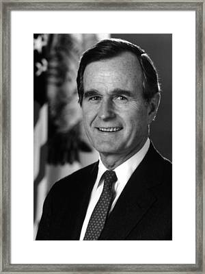 George Bush Sr Framed Print by War Is Hell Store