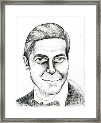 George Clooney Framed Print by Genevieve Esson