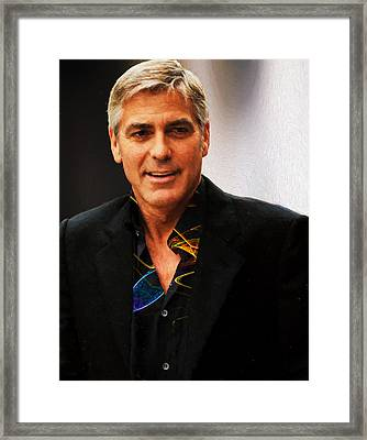 George Clooney Painting Framed Print by EricaMaxine  Price