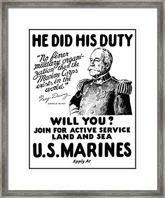 George Dewey - Us Marines Recruiting Framed Print by War Is Hell Store