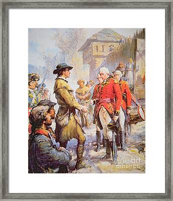 George Rogers Clark Accepts The Surrender Of British Commander Henry Hamilton At Fort Sackville Framed Print by Newell Convers Wyeth