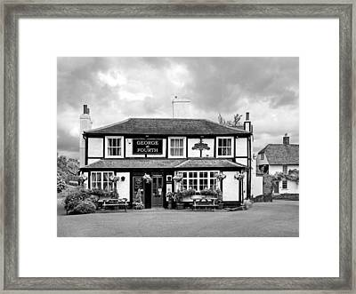 George The Fourth Pub In Black And White Framed Print by Gill Billington