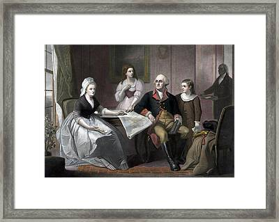 George Washington And His Family Framed Print by War Is Hell Store