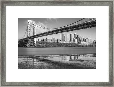 George Washington Bridge Nyc Reflections Bw Framed Print by Susan Candelario