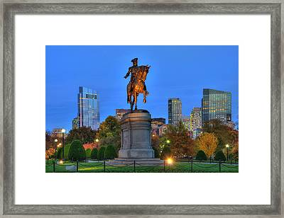 George Washington Statue - Boston Public Garden At Night Framed Print by Joann Vitali