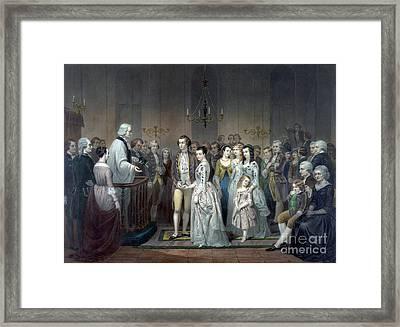 George Washington Weds Martha Custis Framed Print by Science Source