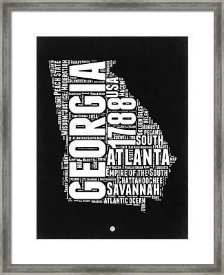 Georgia Black And White Word Cloud Map Framed Print by Naxart Studio