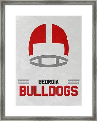 Georgia Bulldogs Vintage Football Art Framed Print by Joe Hamilton
