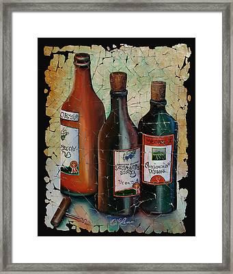 Blue Grapes Framed Print featuring the mixed media Georgian Wine Fresco by OLenaArt Lena Owens
