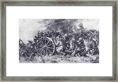 German Field Guns In Action During Framed Print by Vintage Design Pics