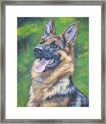 German Shepherd Head Study Framed Print by Lee Ann Shepard