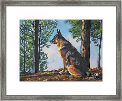 German Shepherd Lookout Framed Print by Lee Ann Shepard