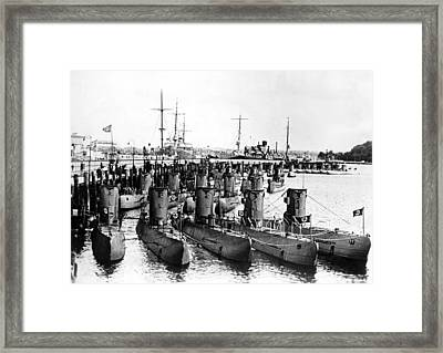 German U-boats On Display For Admiral Framed Print by Everett