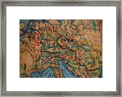 German Vintage Map Of Central Europe From Old Globe Framed Print by Design Turnpike