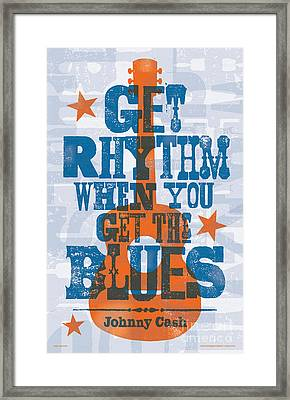 Get Rhythm - Johnny Cash Lyric Poster Framed Print by Jim Zahniser