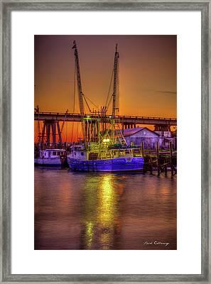 Getting Ready Tybee Island Shrimp Boat Catina Renea Savannah Ga Framed Print by Reid Callaway
