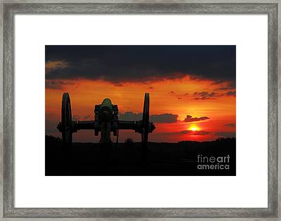 Gettysburg Battlefield Cannon Sunset Framed Print by Randy Steele