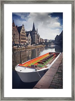 Ghent By Boat Framed Print by Carol Japp