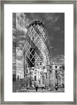 Gherkin And St Andrew's Black And White Framed Print by Gary Eason
