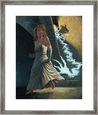 Ghost Chasing Princess In Dark Dungeon Framed Print by Martin Davey