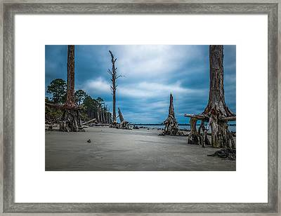 Ghost Of Giants Above The Sand Framed Print by Chris Bordeleau