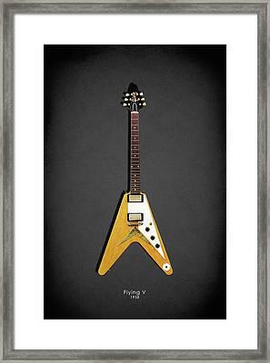 Gibson Flying V Framed Print by Mark Rogan