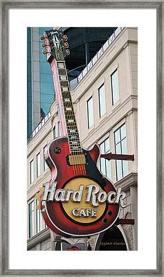 Gibson Les Paul Of The Hard Rock Cafe Framed Print by DigiArt Diaries by Vicky B Fuller