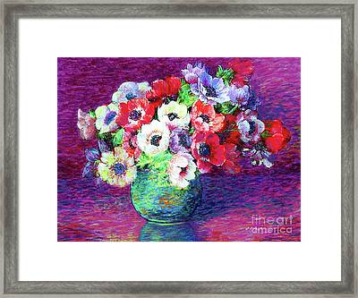 Gift Of Flowers, Red, Blue And White Anemone Poppies Framed Print by Jane Small