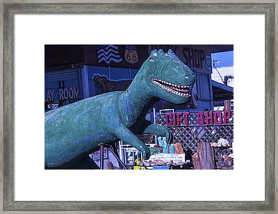 Gift Shop Dinosaur Route 66 Framed Print by Garry Gay